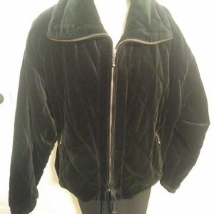 Black Velvet quilted zip jacket sz M Larry Levine